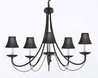 Wrought Iron Plug In Chandelier Lighting With Black Shades H22 x W26