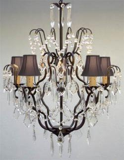 New Wrought Iron & Crystal Chandelier Lighting With Black Shades H27 x W21 - Thumbnail 0