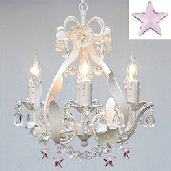 White Iron Empress Crystal Flower Chandelier Lighting With Pink Crystal - Thumbnail 0
