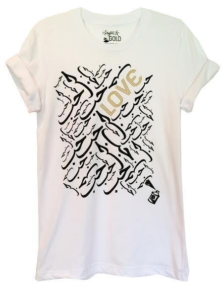 "Graffiti and Gold Arabic Graphic ""Love"" Short Sleeve T-shirt"