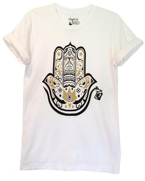 Arabic Men's Graphic Tshirt with Gold and Black Hamza Hand Design