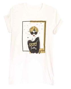 "Graffiti and Gold Arabic Graphic ""TURBAN GIRL"" Short Sleeve T-shirt - Thumbnail 0"