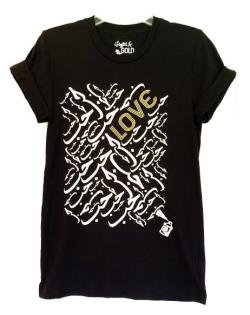 "Graffiti and Gold Arabic Graphic ""Love"" Short Sleeve T-shirt"