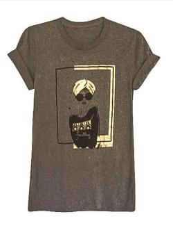 "Graffiti and Gold Arabic Graphic ""TURBAN GIRL"" Short Sleeve T-shirt - Thumbnail 0"