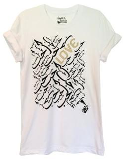 "Graffiti and Gold Arabic Graphic ""Love"" Short Sleeve T-shirt - Thumbnail 0"