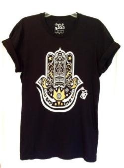 Arabic Men's Graphic Tshirt with Gold and White Hamza Hand Design