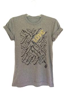 "Graffiti and Gold Arabic Graphic ""LOVE"" Short Sleeve T-shirt - Thumbnail 0"