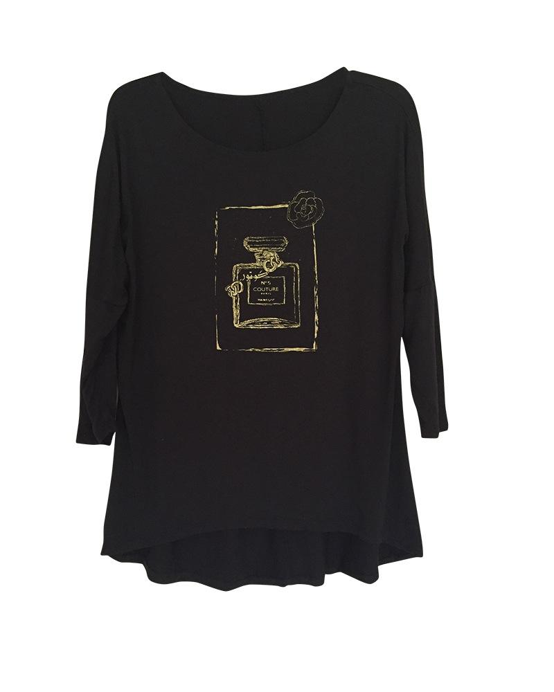 Couture Perfume Bottle Graphic Women's Tunic with Gold and White Design