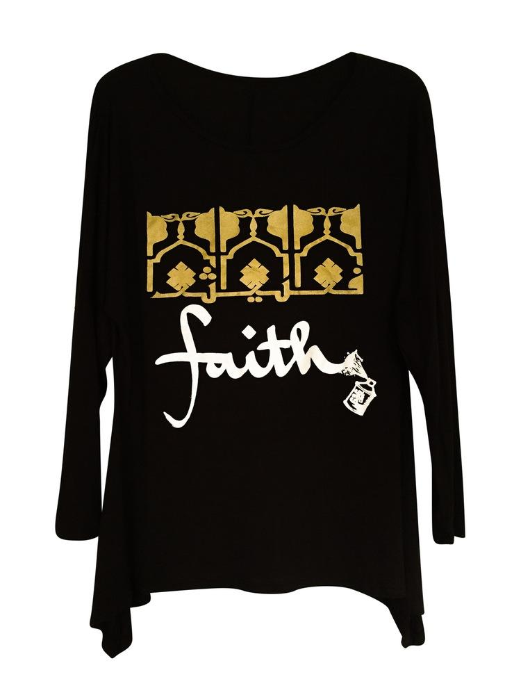 Faith Graphic Women's Tunic with Gold and White Design