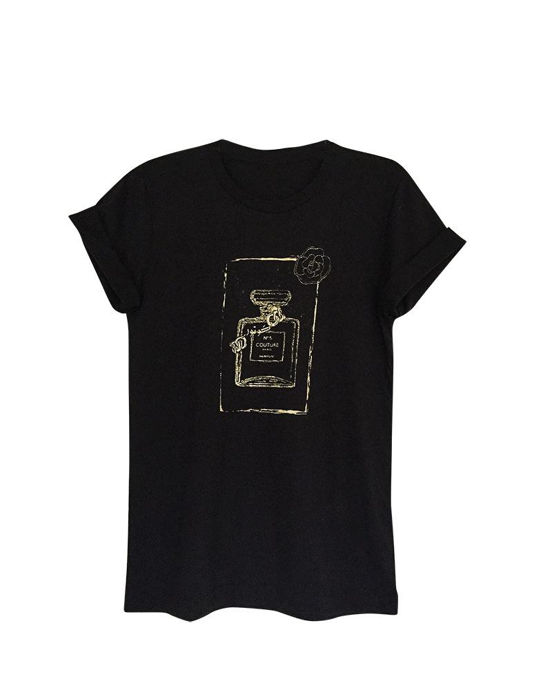 Couture Perfume Bottle Black Short Sleeve Women's Graphic Tshirt