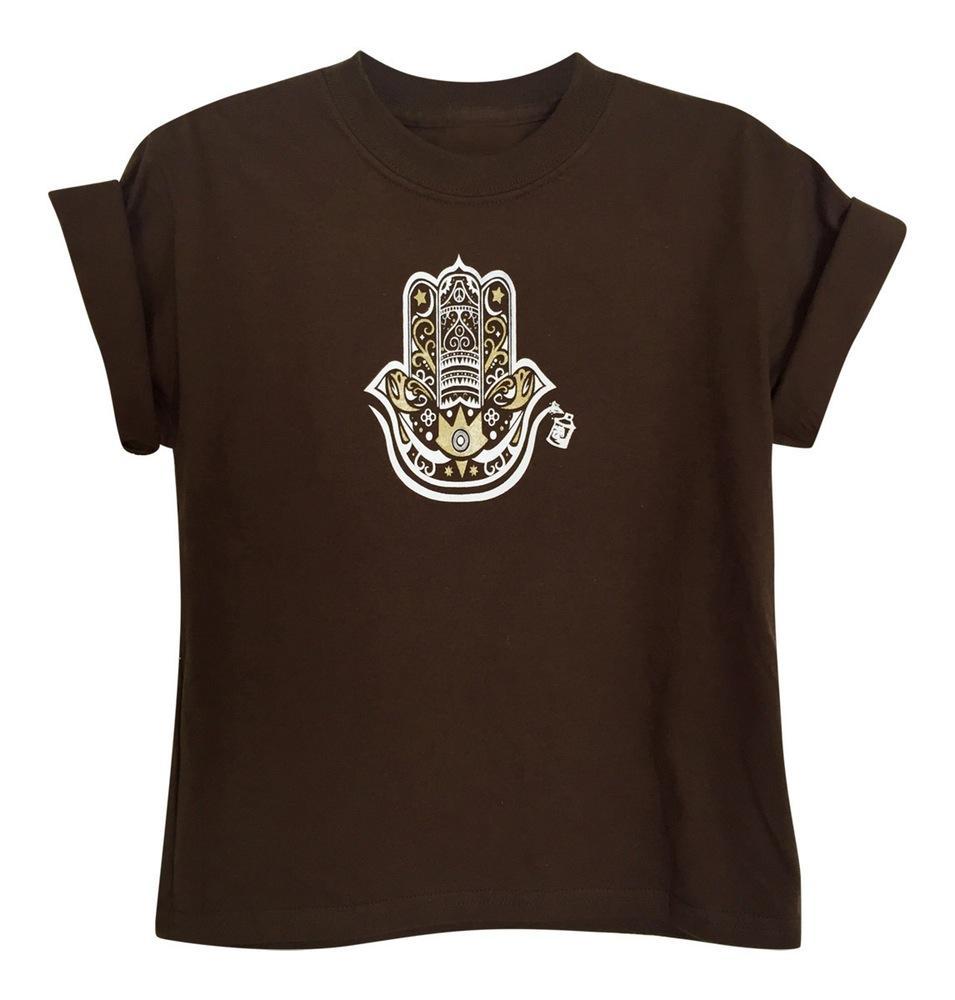Boy's Hamza Hand Chocolate Brown Short Sleeve Graphic Tshirt
