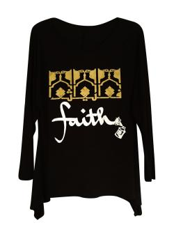 Faith Graphic Women's Tunic with Gold and White Design - Thumbnail 0