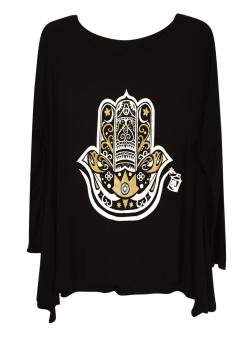 Hamza Hand Graphic Women's Tunics with Gold and White Design
