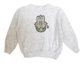 Boy's Hamza Hand Gray Fleece Graphic Sweatshirt Pullover