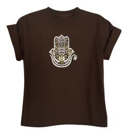 Boy's Hamza Hand Chocolate Brown Short Sleeve Graphic Tshirt - Thumbnail 0
