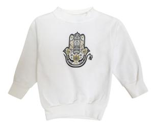 Boy's Hamza Hand White Fleece Graphic Sweatshirt Pullover
