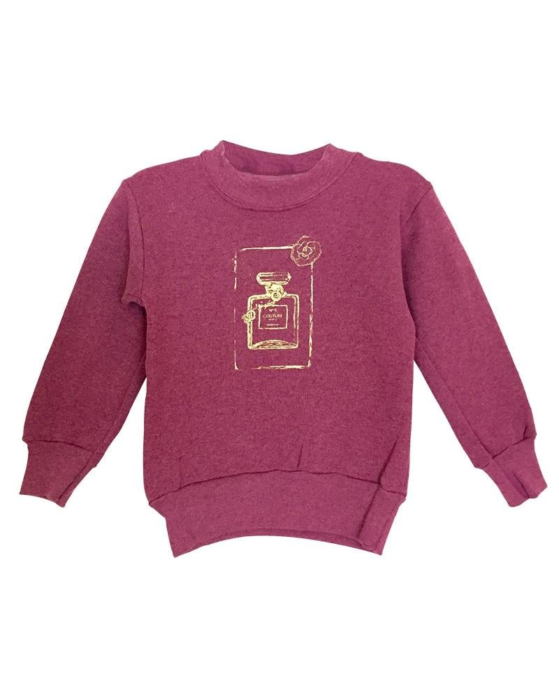 Girl's Couture Burgundy Graphic Fleece Pullover Sweatshirt