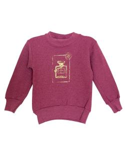 Girl's Couture Burgundy Graphic Fleece Pullover Sweatshirt - Thumbnail 0