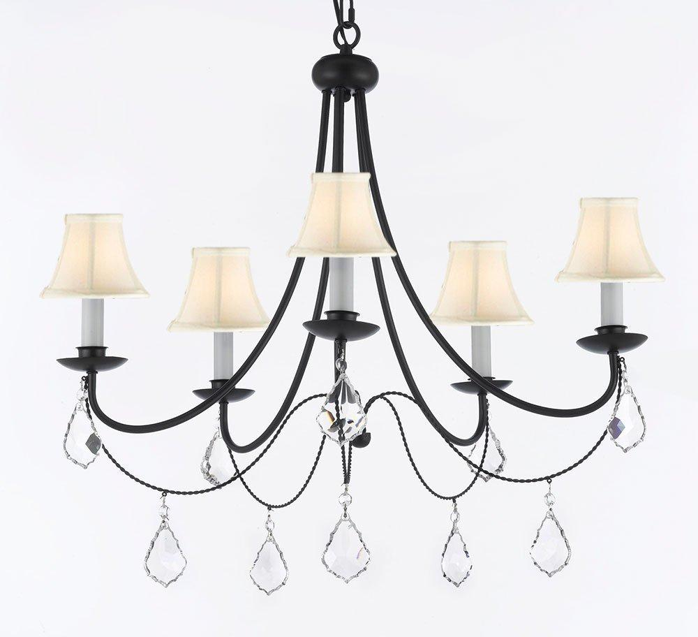 Empress Crystal Wrought Iron Chandelier Lighting With White Shades H22.5 x W26