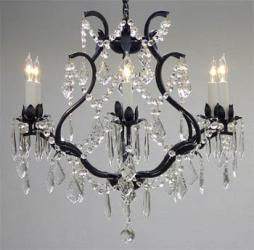 Wrought Iron Crystal Chandelier Lighting H1 9x W20 - Thumbnail 0