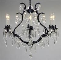 Wrought Iron Crystal Chandelier Lighting  H1 9x W20