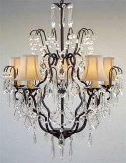 New Wrought Iron & Crystal Chandelier Lighting With White Shades H27 x W21