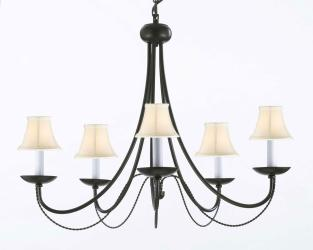 Wrought Iron Plug In Chandelier Lighting With White Shades H22 x W26