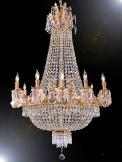 French Empire Crystal Chandelier Lighting H50 x W30 - Thumbnail 0