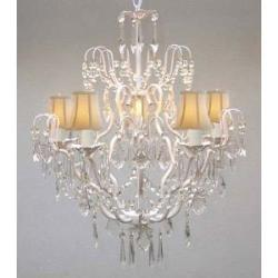 New Wrought Iron & Crystal Chandelier Lighting With White Shades H27 x W21 - Thumbnail 0