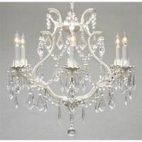 Swag Plug In  White Wrought Iron Crystal Chandelier Lighting H19 x W20