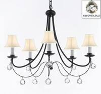Empress Crystal Wrought Iron Chandelier Lighting H22.5 x W26 With White Shades & Faceted Crystal Balls