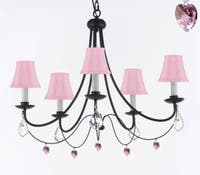 Empress Crystal Wrought Iron Chandelier Lighting With Pink Shades & Pink Crystal Hearts H22.5 x W26