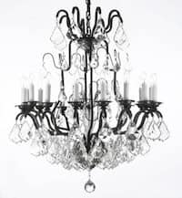 Wrought Iron Crystal Chandelier Lighting H33 x W27