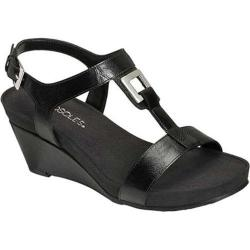 Women's Aerosoles Light Force Wedge Sandal Black Faux Leather
