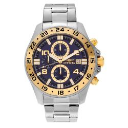 Invicta Men's Pro Diver 16023 Stainless Steel Gold Bezel Chronograph Bracelet Watch