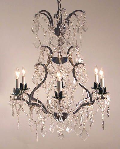 Wrought Iron Crystal Chandelier Lighting H29 x W23