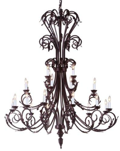 Large Entryway/Foyer Wrought Iron Chandelier Lighting 50In Tall H50 x W30
