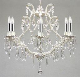 White Wrought Iron Empress Crystal Chandelier Lighting With Chrome Sleeves