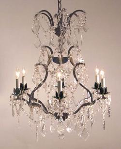 Wrought Iron Crystal Chandelier Lighting H29 x W23 - Thumbnail 0