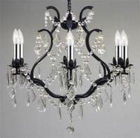 Wrought Iron Empress Crystal Chandelier Lighting With Chrome Sleeves H19 x W20
