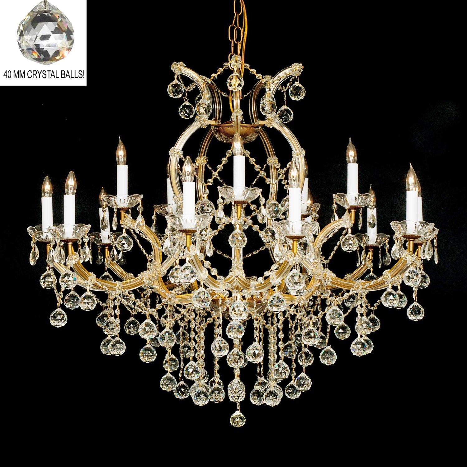 New Crystal Chandelier Lighting H38x W37 With Faceted Crystal Balls