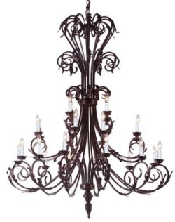 Large Entryway/Foyer Wrought Iron Chandelier Lighting 50In Tall H50 x W30 - Thumbnail 0