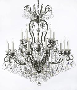 Wrought Iron Crystal Chandelier Lighting W38 x H44