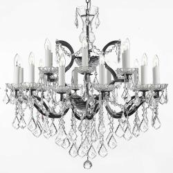 19th Rococo Iron & Crystal Chandelier Lighting H28 x W30 - Thumbnail 0