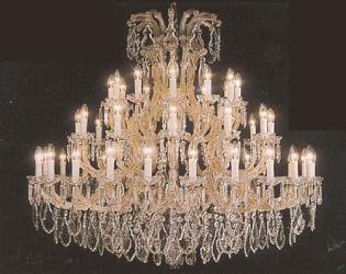 Chandelier Crystal 37 Lights H52 x W46 Gold - Thumbnail 0