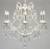 White Wrought Iron Empress Plug In Crystal Chandelier Lighting With Chrome Sleeves