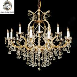 New Crystal Chandelier Lighting H38x W37 With Faceted Crystal Balls - Thumbnail 0