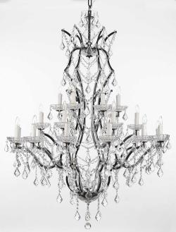 19th Rococo Iron & Crystal Chandelier Lighting H52 x W41 - Thumbnail 0