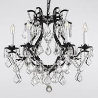 Swag Plug In Wrought Iron Crystal Chandelier Lighting H19 x W20