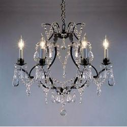 Wrought Iron Crystal Chandelier Lighting H19 x W20 Swag Plug In Chandelier - Thumbnail 0